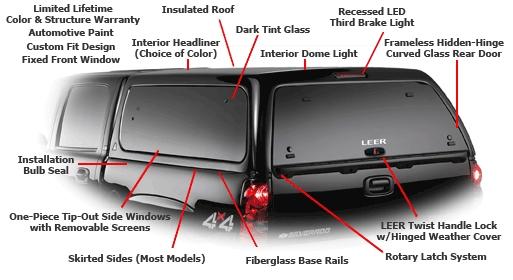 Leer 100xq Fiberglass Truck Cap At Truck Outfitters Plus