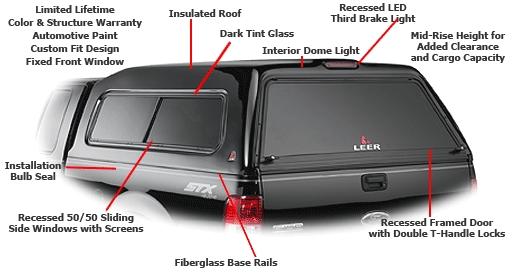 Leer 180 Fiberglass Truck Cap At Truck Outfitters Plus