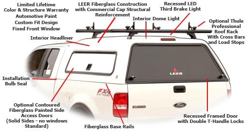 Leer 180CC Fiberglass Truck Cap at Truck Outfitters Plus