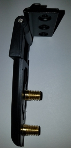 All Glass Rear Door Hinges - 2 Stud - 3 Mounting Holes Side View